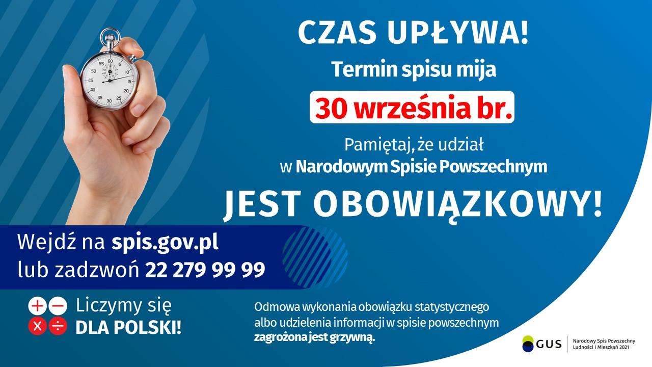 Informacja o kończącym się terminie Narodowego Spisu Powszechnego który mija 30 września
