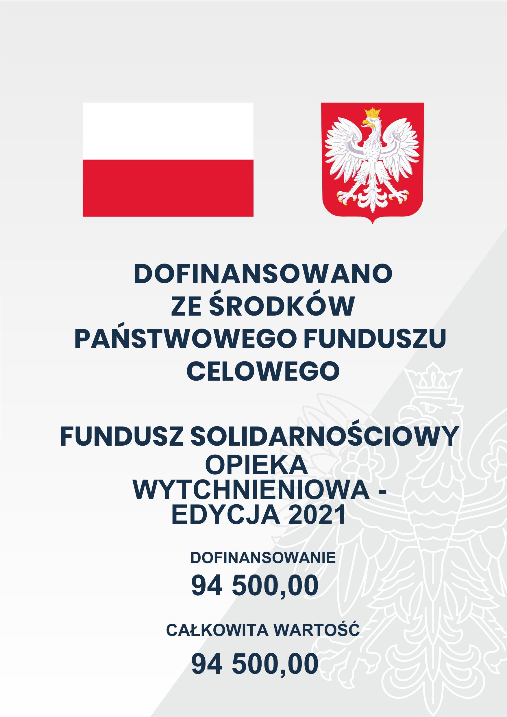 Plakat informujący o dofinansowaniu